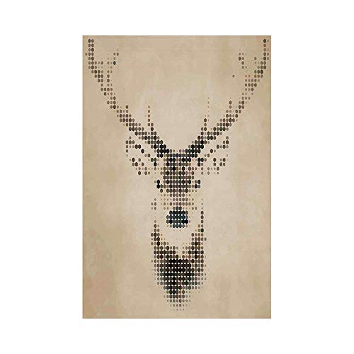 Polyester Garden Flag Outdoor Flag House Flag Banner,Deer Decor,Retro Style Deer Portrait with Digital Dots and Geometric Circle Vintage Graphic,Cream Brown,for Wedding Anniversary Home Outdoor Garden]()