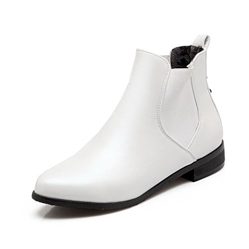 AllhqFashion Women's Pull On Pointed Closed Toe Low Heels Pu Low Top Boots, White, - Mall Orlando Shopping