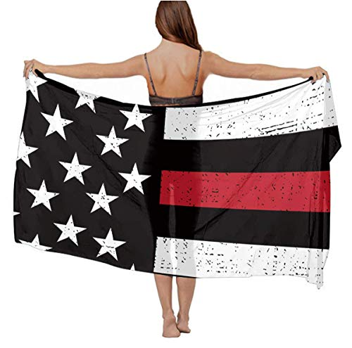 Womens Girls American Red Line Flag Art Scarves Stole Summer Long Swimwear, Lightweught Cover Up Fashion Sexy Sarong Skirt for Beach, Pool Party, Travel