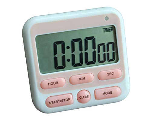 - Digital Kitchen Timer, Cooking Timer, Large Display, Strong Magnetic Back, Loud Alarm, 12-Hour Display Clock, Count-Up & Count-Down for Cooking Baking Sports Games Office (Pink)
