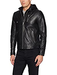 Men's Slayer Lambskin Leather Moto Jacket with Removable Hoodie