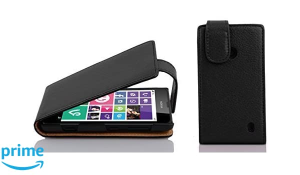 19b169f7621 Cadorabo Nokia Lumia 630/635 Funda de Cuero Sintético FLIP ESTRUCTURA en NEGRO  ÓXIDO Cubierta Protectora Estilo Flip con Cierre Magnético y Apertura ...