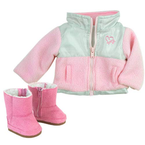 18 Inch Doll Jacket & Doll Boots in Suede Style, Fits 18 American Girls Dolls & More! Stylish Light Pink & Gray Nylon/Fleece Jacket & Pink Ewe Boots
