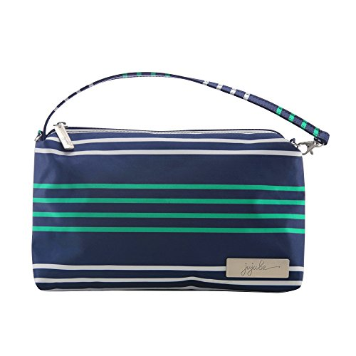 JuJuBe Be Quick Baby Wipe Carrying Case/Detachable Wristlet, Coastal Collection - Providence - Navy/Teal/White Stripes