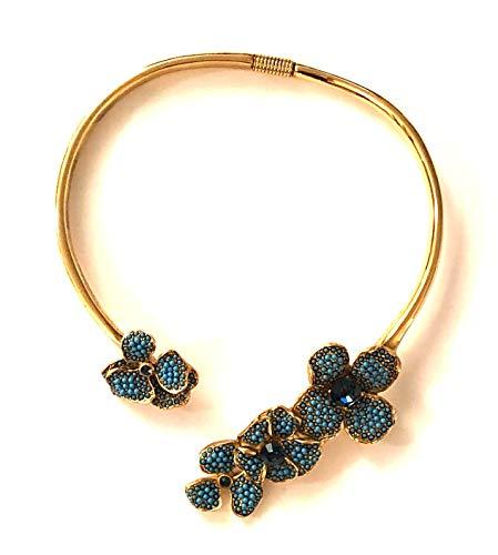 Kenneth Jay Lane, Turquoise Flower Pendants ON Gold Collar, Work of - Jay Pendants Crystal Lane Kenneth