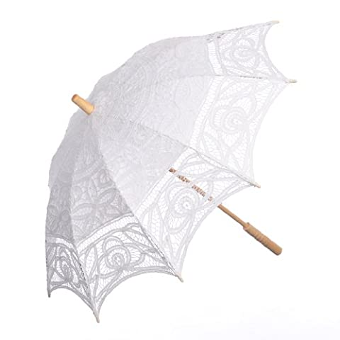 Topwedding Battenburg Lace Outdoor Wedding Parasol Bridal Shower Umbrella, White (Theatrical Umbrella)