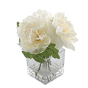 Flora Bunda Artificial Flower 9 inch Tall Silk Peony Arrangement in Fake Water Glass Pot,Cream White 9