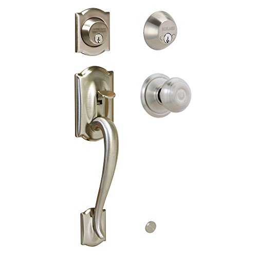 Camelot Handleset w Georgian Interior Knob in Satin Nickel - Double Cylinder - F62 CAM 619 GEO (Satin Nickel) ()
