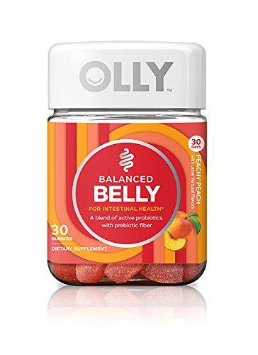 OLLY Probiotic + Prebiotic Gummy, 30 Day Supply (30 Gummies), Peachy Peach, Probiotics, Live Cultures, Prebiotic Fiber, Chewable Supplement