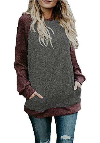 Baseball Sweater - BLUETIME Tunic Tops for Leggings Women Casual Color Block Cotton Comfy Long Sleeve T Shirt Wine Red L