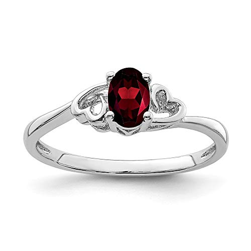 Sterling Band Silver 3mm Antiqued (925 Sterling Silver Red Garnet Band Ring Size 10.00 Birthstone January Gemstone Fine Jewelry Gifts For Women For Her)