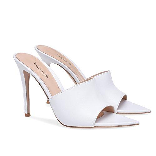 XUE Femmes Chaussures PU t Base Pompe de Mariage Chaussures Talon Aiguille Peep Toe Boucle fonc Noir Brown Party & Soire/Robe Formal Business Travail de Mariage (Couleur : B, Taille : 36) Une