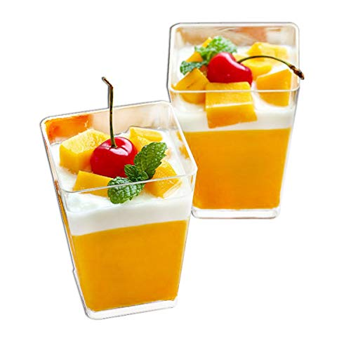 Square Plastic Cups (Tosnail 5 Oz Tall Square Clear Plastic Dessert Tumbler Cups - 50)