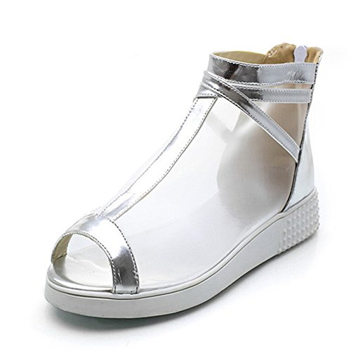 Aisun Womens Unique Mesh Peep Toe High Top Zip Up Sandali Gladiatore Scarpe Argento