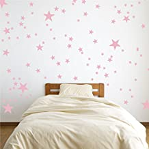 Vinyl Star Wall Decal Stickers for Home Wall Decor Night Sky Removable Graphic Transfers for Nursery or Kids Room (Carnation Pink, 48x55 inches)
