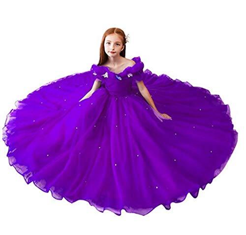 (Flower Girls Dress 2017 Purple Kids Pageant Communion Dress Puffy Tulle Princess Size)
