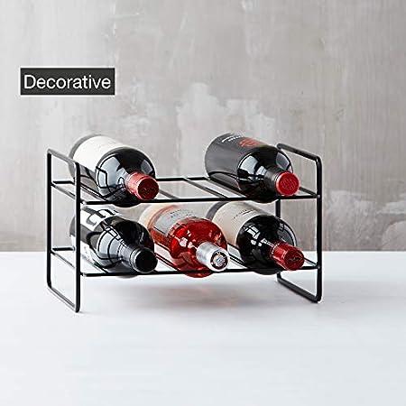 Point-Virgule Botellero Vino para 6 Botellas de Alambre de Metal Negro, 31,8x23,4x18,5cm