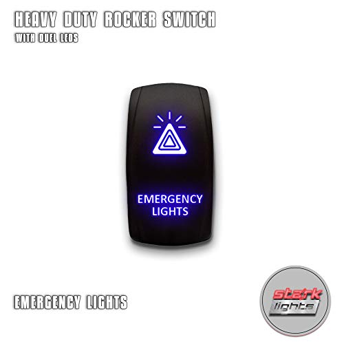 EMERGENCY LIGHTS - Blue - STARK 5-PIN Laser Etched LED Rocker Switch Dual Light - 20A 12V ON/OFF