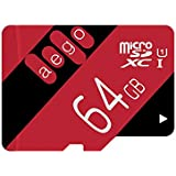 AEGO 64gb MicroSDXC UHS-1 Class 10 Memory Card for Fire Tablets Dash Cam, with Free Adapter (AEGO-U1-64GB)