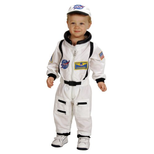 Aeromax Jr. Astronaut Suit with Embroidered Cap and NASA patches, WHITE, Size 18 Months ()