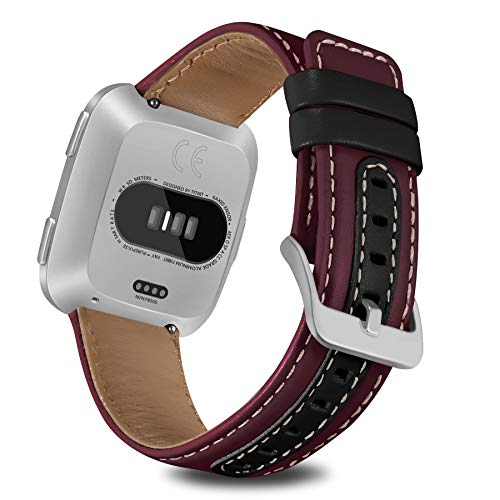 Jobese Compatible Fitbit Versa Bands, Soft Classic Genuine Leather Straps Compatible Fitbit Versa Smart Watch Accessories Wristbands