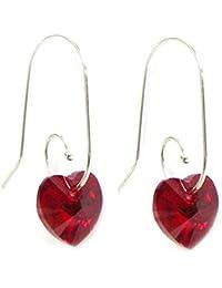 Sterling Silver Swirl Hook Swarovski Elements Crystal Heart Drop Earrings