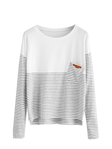 SweatyRocks Women's Crew Neck Striped Long Sleeve Tee with Pocket (Large, Grey_White#)