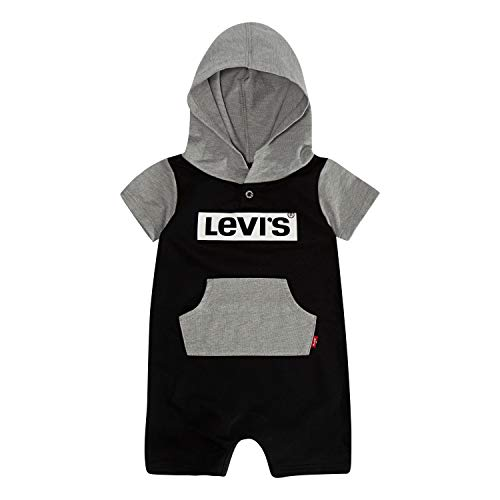 (Levi's Baby Boys Short Sleeve Hooded Coverall, Black/Grey Heather, 3M)