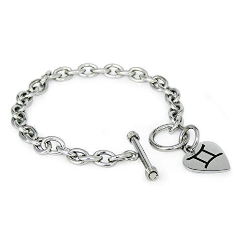 Tungsten King Stainless Steel Classic Silver Gold Rose Gold Plated Astrology Zodiac Symbol Heart Charm Toggle Closure 7.5'' Bracelet for Women Girl ()
