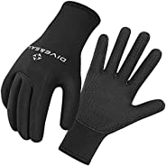Almencla Wetsuits 5 mm Premium Neoprene Gloves Scuba Diving Five Finger Glove