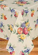 Water Flower Vinyl Tablecloth Flannel Backing, 52x90 Oval