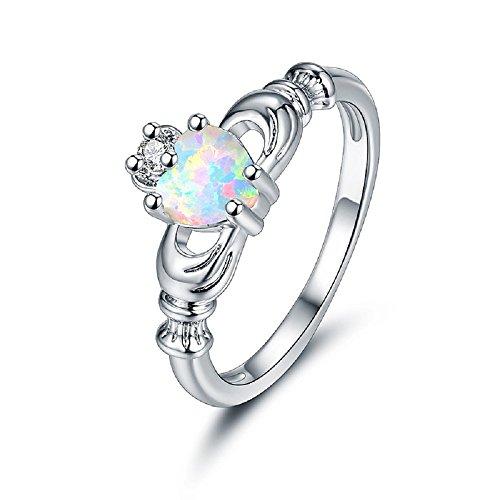 - OPALBEST 18K White Gold Plated Fire Opal Ring Heart Engagement Promise Ring for Women (10)
