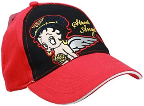 Betty Boop Black Adjustable  Baseball Cap Hat One Size Black Red New Angel Biker