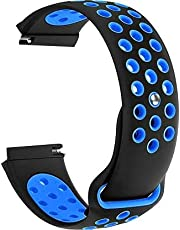 22mm Replacement Silicone Quick Release Sport Bracelet Wrist Watch Band Strap (Black Blue)