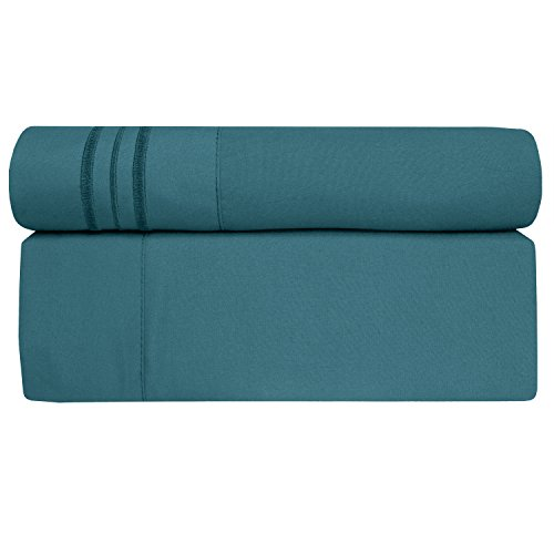 Sweet Home Collection 1800 Thread Count Bed Sheet Set Egyptian Quality Brushed Microfiber 5 Piece Deep Pocket, Split King, Teal by Sweet Home Collection (Image #1)