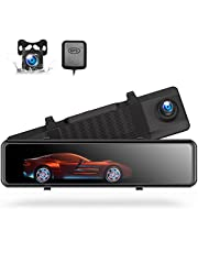 """Mirror Dash Cam, 12"""" 4K Rear View Mirror Camera Voice Control GPS and Speed Full Touch Screen w/Waterproof Reverse Backup Camera, Dash Cam Front and Rear w/Parking Assistant, Night Vision"""