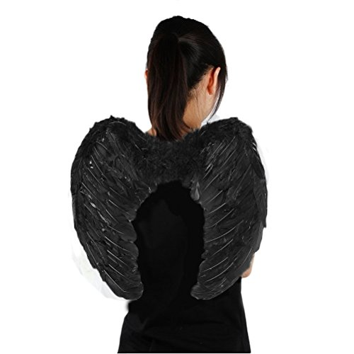 Genluna Stage Perform Halloween Party Costumes Feather Angel Wing 6080cm Black (Halloween Black Angel Wings)