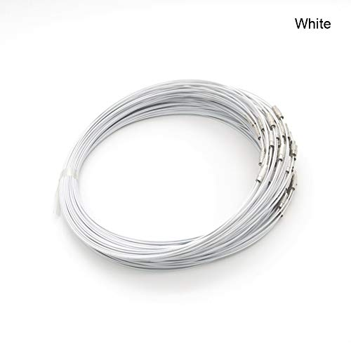 Cord Necklace 18 Inch 50PCS/LOT Silver Color Stainless Wire Cable 1MM Steel Chain Cord Necklace Screw Clasp Jewelry ()