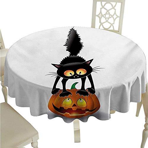 Halloween Fabric Dust-Proof Table Cover Black Cat on Pumpkin Drawing Spooky Cartoon Characters Halloween Humor Art Runners,Gatsby Wedding,Glam Wedding Decor,Vintage Weddings D70