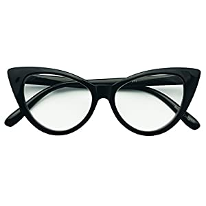 50mm Round Pointed Cat Eye Rx Prescription Magnifying Reading Readers Glasses for Women (Black, 2.25)
