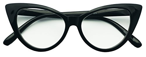 50mm Round Pointed Cat Eye Rx Prescription Magnifying Reading Readers Glasses for Women (Black, 1.25)