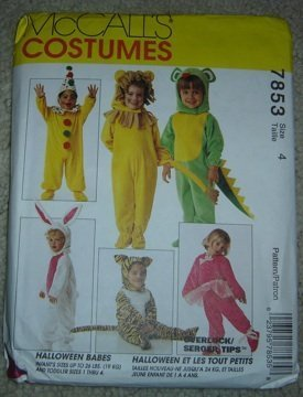 McCall's Costumes Halloween Babes 7853 (Clown, Ballerina,Santa, Lion, Mouse, Tiger, Bunny & Dragon) Infants/Toddler Sz. 4 for $<!--$4.76-->