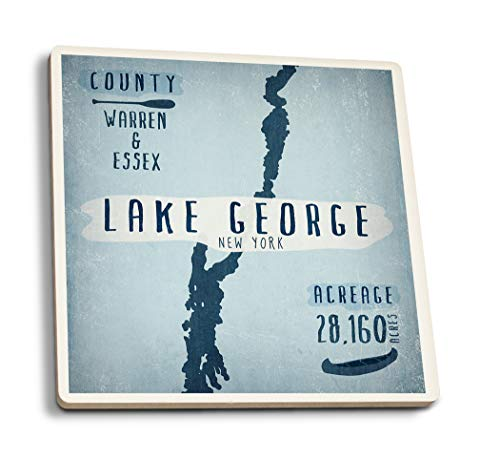 Lake George, New York - Lake Essentials - Shape, Acreage and County (Set of 4 Ceramic Coasters - Cork-Backed, Absorbent)