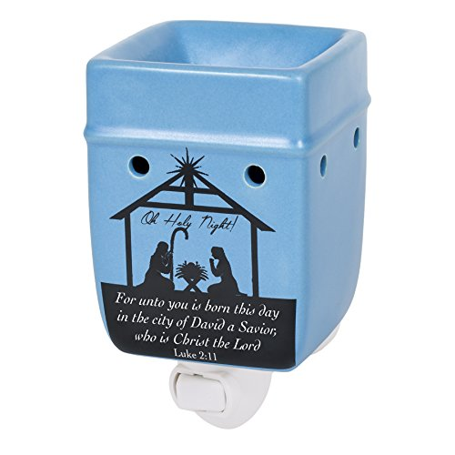 Warm Christmas Scene - Christmas Nativity Scene Black Silhouette Stoneware Electric Plug-in Outlet Wax and Oil Warmer