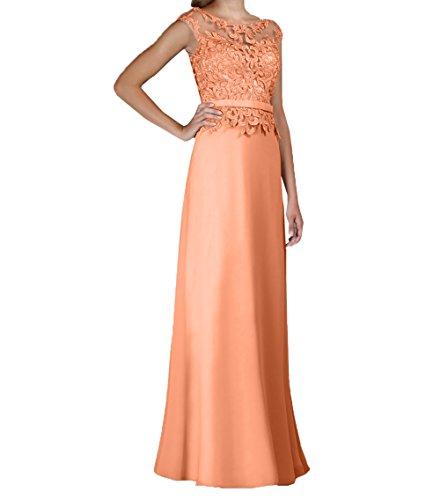 Elegant Etuikleider Partykleider Bodenlang Rock Formalkleider Charmant Damen Spitze Brautmutterkleider Abendkleider Chiffon Orange Hell Owx654
