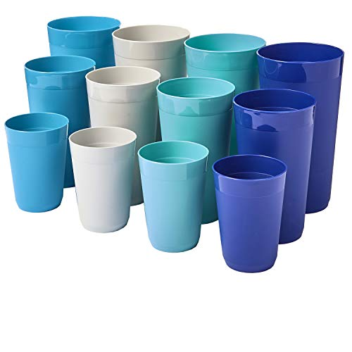 12-Piece Newport Unbreakable Plastic Tumblers | four each 10-ounce, 20-ounce, and 32-ounce in 4 Coastal Colors (Tumblers Stackable Plastic)