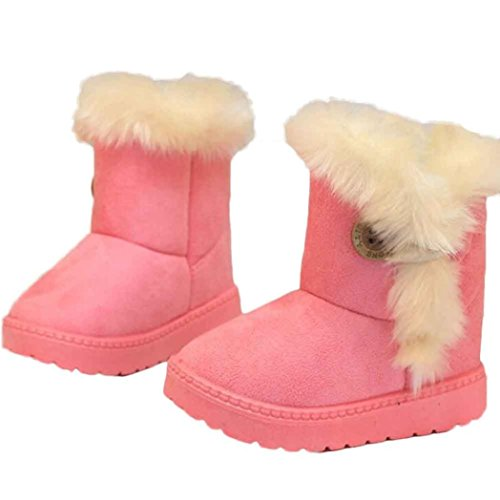 Amiley Toddler Little Big Kids Boy Girl Cozy Warm Snow Boots Button Bootie (1-2Age-US:5-5.5 (Tag 21), Pink) (Best Gifts For 1 Year Old Baby Girl Uk)