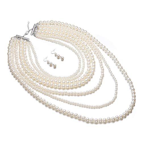 Yuhuan Women's Fashion Charm Jewelry Pendant Faux Pearl Choker Chunky Statement bib Necklace(Ivory) -