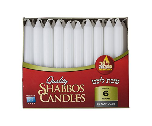 Classic White Taper Candles - 60 Bulk Pack - For Shabbat, Dinner Tables, Restaurants, Ceremonies and Emergency - 6 Hour Burn Time - by Ner Mitzvah