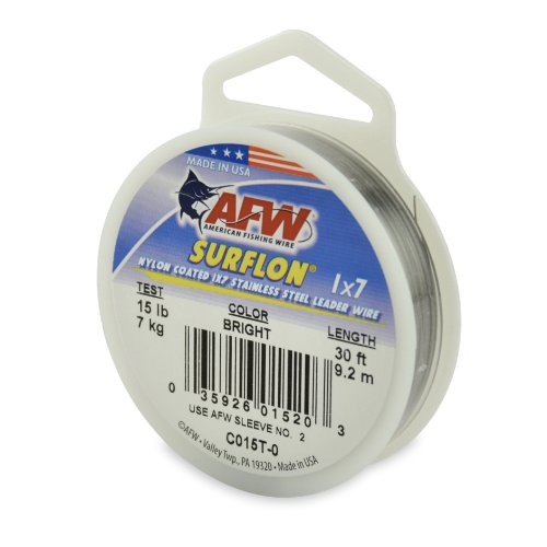 American Fishing Wire Surflon Nylon Coated 1x7 Stainless Steel Leader Wire, Bright Color, 15 Pound Test, 30-Feet